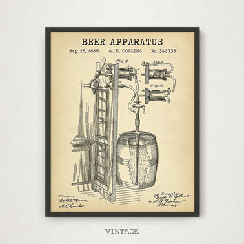 Beer Apparatus Patent Print, Beer Patent Poster,  Bar Art, Pub Wall Art, Cafe Art Man Cave, Beer Print, Vintage Beer Barrel, Blueprint Art