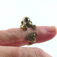 Monkey ring - Cute wrap ring jewelry - Monkey and banana  ring is Bronze - Weddings - Birthdays - bridesmaids and more -  Handmade # 00271