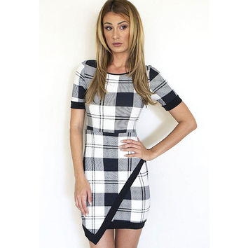 Short Sleeve Plaid Asymmetric Dress