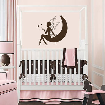 Vinyl Decals Fairy Princess with Stars on Moon  Home Wall Art Decor Removable  Sticker Mural L538 Unique Design for Girl Nursery  Room