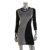 French Connection Womens Heathered Colorblock Sweaterdress