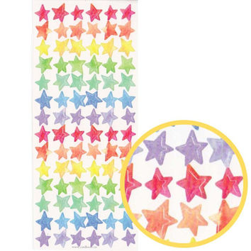 Classic Rainbow Colored Star Shaped Stickers for Decorating | Cute Scrapbook Supplies
