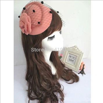 DCCKU62 Lady &Girls Rose Flower Hat Lace Fascinator Hair Clip Fashion Gift Lady Net Pillbox Hat Hair Clip Accessory Flower Cap