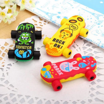 1pcs pack Kawaii Skateboard design Detachable Eraser funny students' gift kids's Puzzle Toy school Stationery supplies