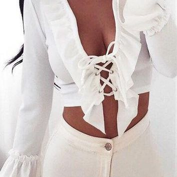Deep V-neck Lace-up Pleated Top