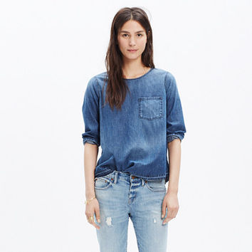 Denim Drop-Hem Tee