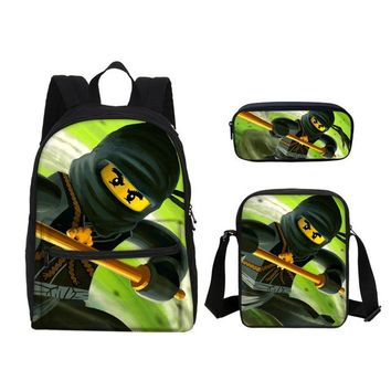Boys bookbag trendy VEEVANV Small Lego Ninjago Children School Bags Canvas Cartoon Printing Laptop Backpacks Kids Fashion  Boys Shoulder Bags AT_51_3