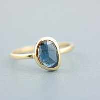 Blue Sapphire Ring 14k Yellow Gold Blue Rose Cut Sapphire Solid Gold Blue Sapphire Engagement Ring Size 6 September Birthstone Goldsmith