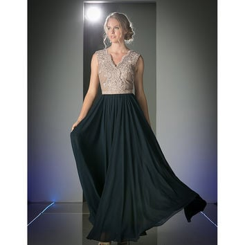 Mocha & Navy Blue Sleeveless V-Neck Long Dress 2016 Prom Dresses