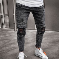 Mens distressed ripped slim fit jeans