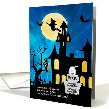 Halloween Haunted House Custom Front R.I.P. card