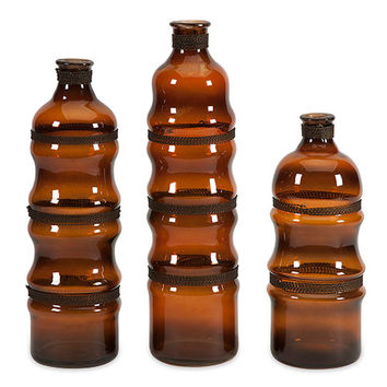 IMAX 84827-3 Cumulas Rich Brown Glass Bottle with Wire Wrap, Set of Three