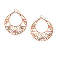 Textured Antique Rose Gold Chevron Cut Out Drop Hoop Earrings