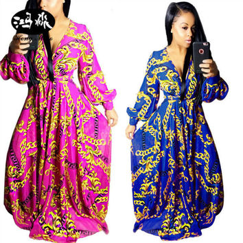 New 2017 brand high quality full sleeve Dashiki print traditional african dresses v-neck maxi dress sexy women long dress