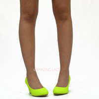 It's A Lovely Dream Neon Lime Mini Wedges