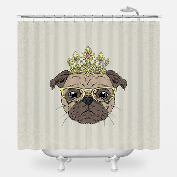 The Puggliest Pug Shower Curtain