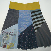 Coke with Lemon Boho Chic Hippie Skirt Women's Small Medium upcycled t-shirt clothing from Twinkle