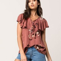 BLU PEPPER Flounce Lace Up Womens Top