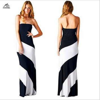 Saenshing Strapless women black and white striped dress Long Maxi vestidos 100% Cotton Casual Beach Bodycon Dresses plus size4xl