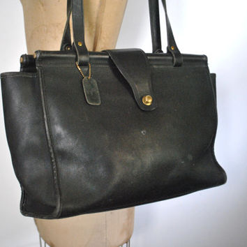 RARE Coach Bag Purse / XL Black Shopper Tote / Barclay