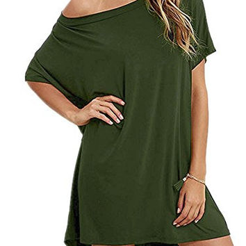 Loose T Shirts Home Short Sleeve Casual Hem Solid Top Dress