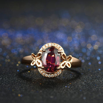 Oval Shaped Rubellite Red Tourmaline Diamond Butter Fly Ring in 18k Rose Gold Engagement Wedding Birthday Anniversary Valentine's
