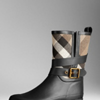 Belted Check Rain Boots