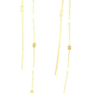 Beaded Chain Bar Chandelier Earrings Gold Tone Faux Pearl Posts EH22 Fashion Jewelry