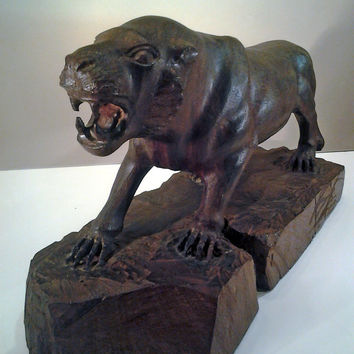 Carved Wood Cat ,Tiger Cat Sculpture, Hand Made Tiger Sculpture,Vintage Wood Carved Statue, Solid Wood Tiger,Prehistoric Cat Statue,Wood Cat