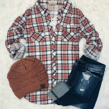 Penny Plaid Flannel Top: Clay/Ivory