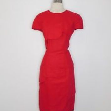 vintage womans red KATHIE LEE scalloped tiered sheath career dress size 8 L38-3
