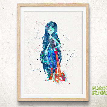Marceline, Adventure Time - Watercolor, Art Print, Home Wall decor, Watercolor Print, The Vampire Queen Poster