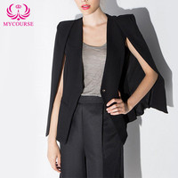 MYCOURSE Modern Womens Cloak style Cardigan Tuxedo Blazer Casual Jacket Suit Cape Coat Korean Long Sleeve Single Button Coat