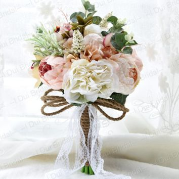 Rustic Wedding Bouquet Pal Pink Ivory Bridal Flower