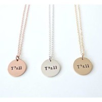 Women's Y'all Country Necklace - Rose Gold