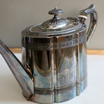 Stunning Antique Victorian Silver Plate Teapot, EPBM Sheffield Pewter, 1900s, Kitchen Decor, English