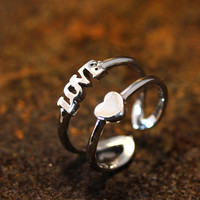 Love Heart Knuckle Double Lines Ring Adjustable Small Ring Silver Plated Jewelry gift idea Open Small size Knuckle Ring
