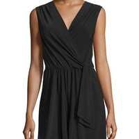 Neiman Marcus Wrap Sleeveless Short Jumpsuit, Black