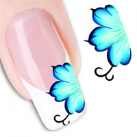 One Sheet Chic Incomplete Flower Pattern Water Transfer Printing Nail Sticker
