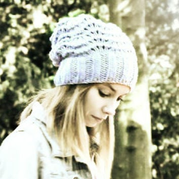 Slouchy Beanie Hat - Grey - Hand Knitted Vegan Hat - Woman's Hat - Teen Girl Hat