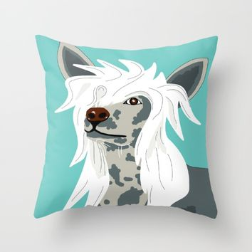 Chinese Crested Throw Pillow by Mandi Lynn Prevoteau