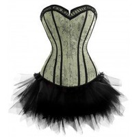 A3373 - Victorian Green Corset with Black Tutu