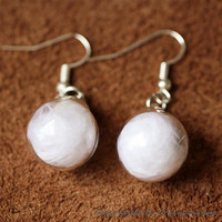 Nature Inspired Jewelry Real White Feather Earrings (HM0053)