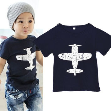 Boys Vintage Airplane T Shirt. Blue or Dark Green