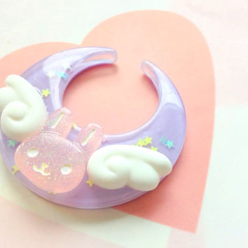 Fairy Kei Purple Moon with Angel Bunny Hair Clip or Brooch, Kawaii Rabbit, Moon Hair Clip, Cute Angel Wings, Moon Brooch Pin, Mahou Kei