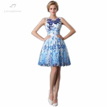 LANSITINA Colorful Prom Dress High Quality Customized Fashion O-Neck Lace-up Back A-Line Cheap Party Gown Dresses