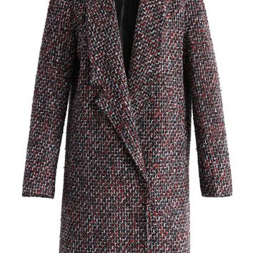 Tweed My Way Coat in Wine