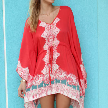 Atlantic Shore Orange Butterfly Sleeved Dress