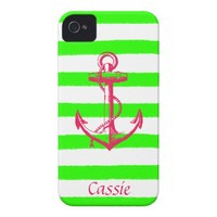 Nautical Anchor with Summer Neon Green Stripes iPhone 4 Covers from Zazzle.com