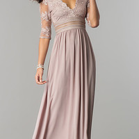 Long Formal Prom Dress with Low V-Neck and Sleeves